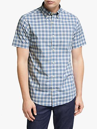 c1c516aa07f GANT Tech Prep Broad Check Short Sleeve Shirt, Blue