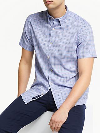 bb0c0cb1937 GANT Tech Prep Oxford Check Short Sleeve Shirt, Pale Blue