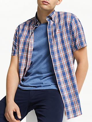 4918edea572 GANT Indigo Check Short Sleeve Shirt, Indigo