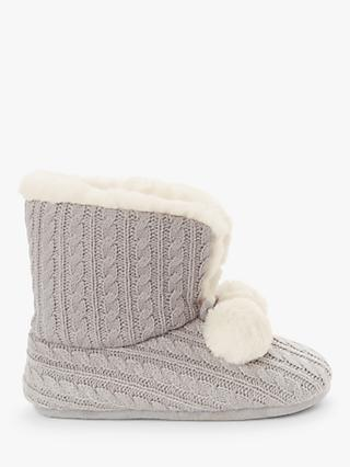 John Lewis & Partners Cable Knit Boot Slippers, Grey