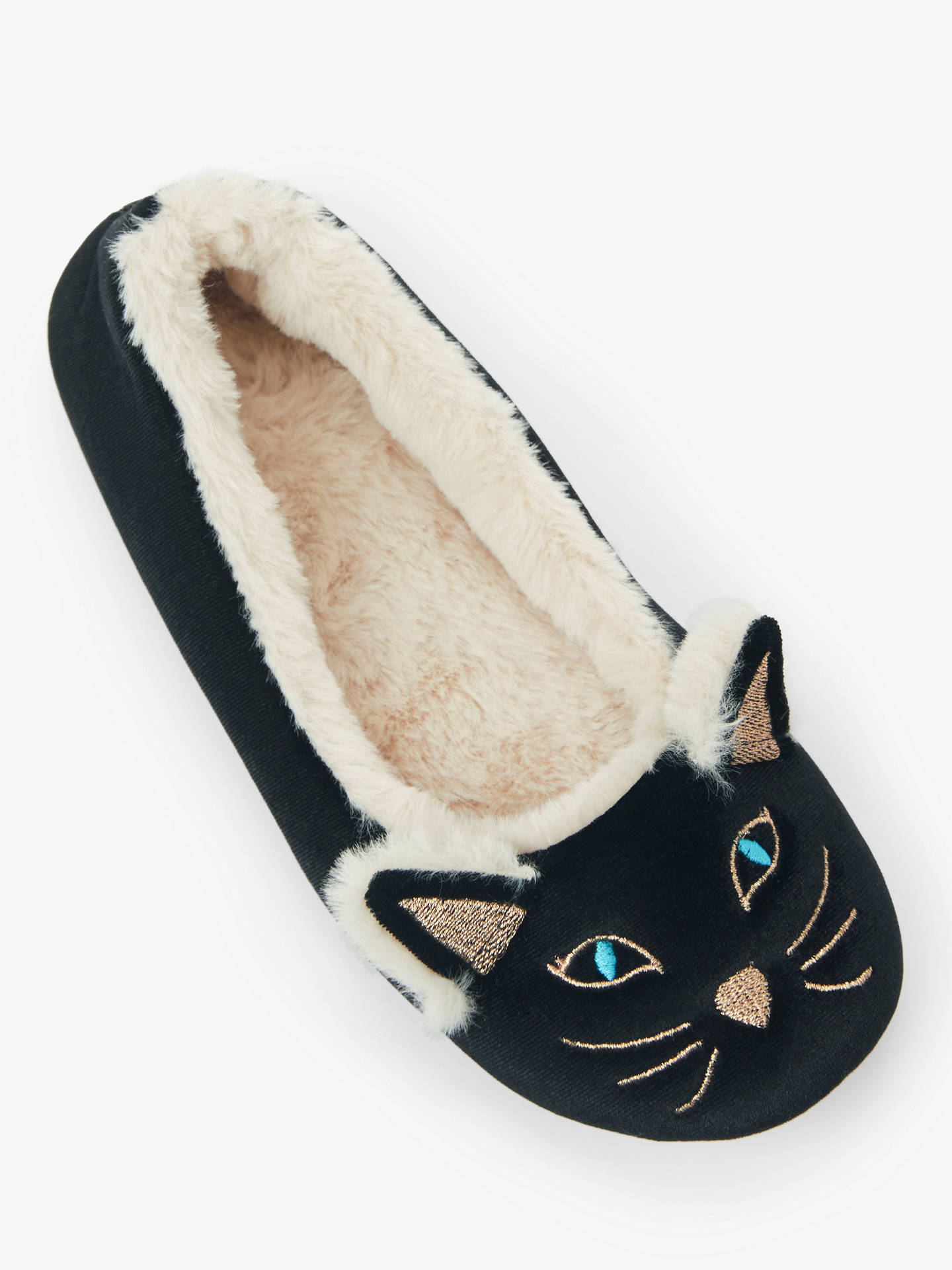 Buy John Lewis & Partners Cat Ballerina Slippers, Black, 3-4 Online at johnlewis.com