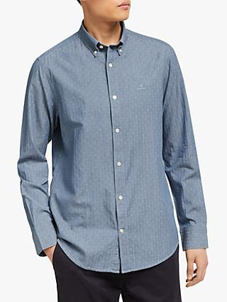 791b2130c6a GANT Tech Prep Geometric Pattern Dobby Shirt, Indigo