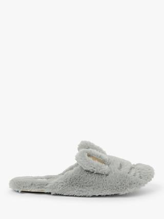 John Lewis & Partners Faux Fur Bunny Mule Slippers, Grey
