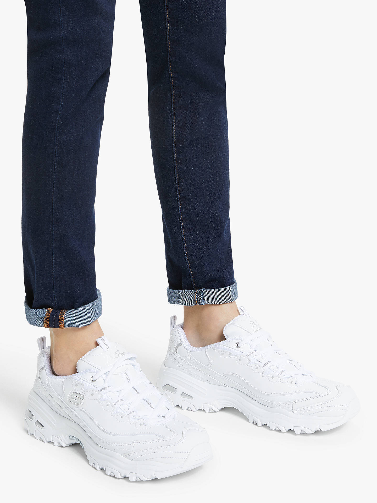 Buy Skechers D'Lites Trainers, White, 8 Online at johnlewis.com
