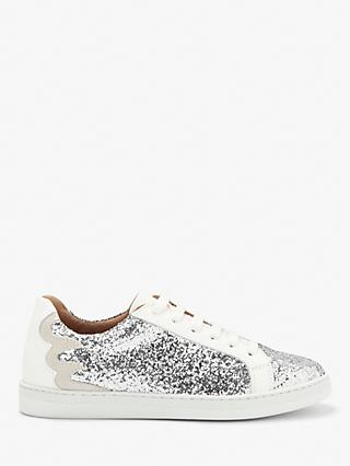 AND/OR Elsie Glitter Trainers, Silver Leather