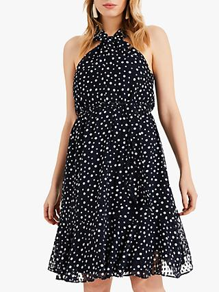 Phase Eight Dotty Flocked Dress, Navy/Ivory