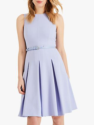 Phase Eight Elidah Belted Pleat Dress, Dusty Blue