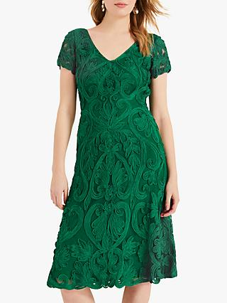 Phase Eight Kady Tapework Lace Dress, Emerald