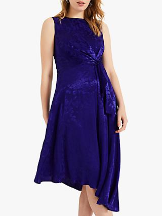 Phase Eight Alexandrine Floral Jacquard Asymmetric Dress, Royal Blue