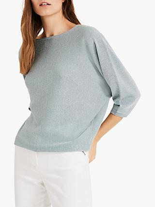 Phase Eight Becca Shimmer Knit, Duck Egg