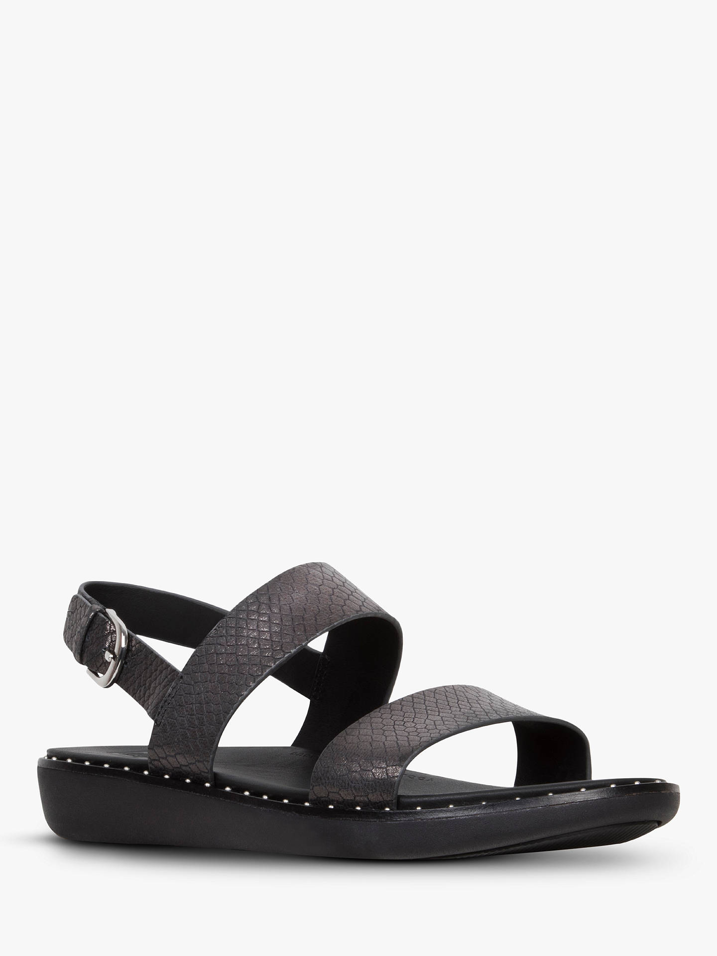 Buy FitFlop Barra Double Strap Sandals, Black Snake Leather, 4 Online at johnlewis.com