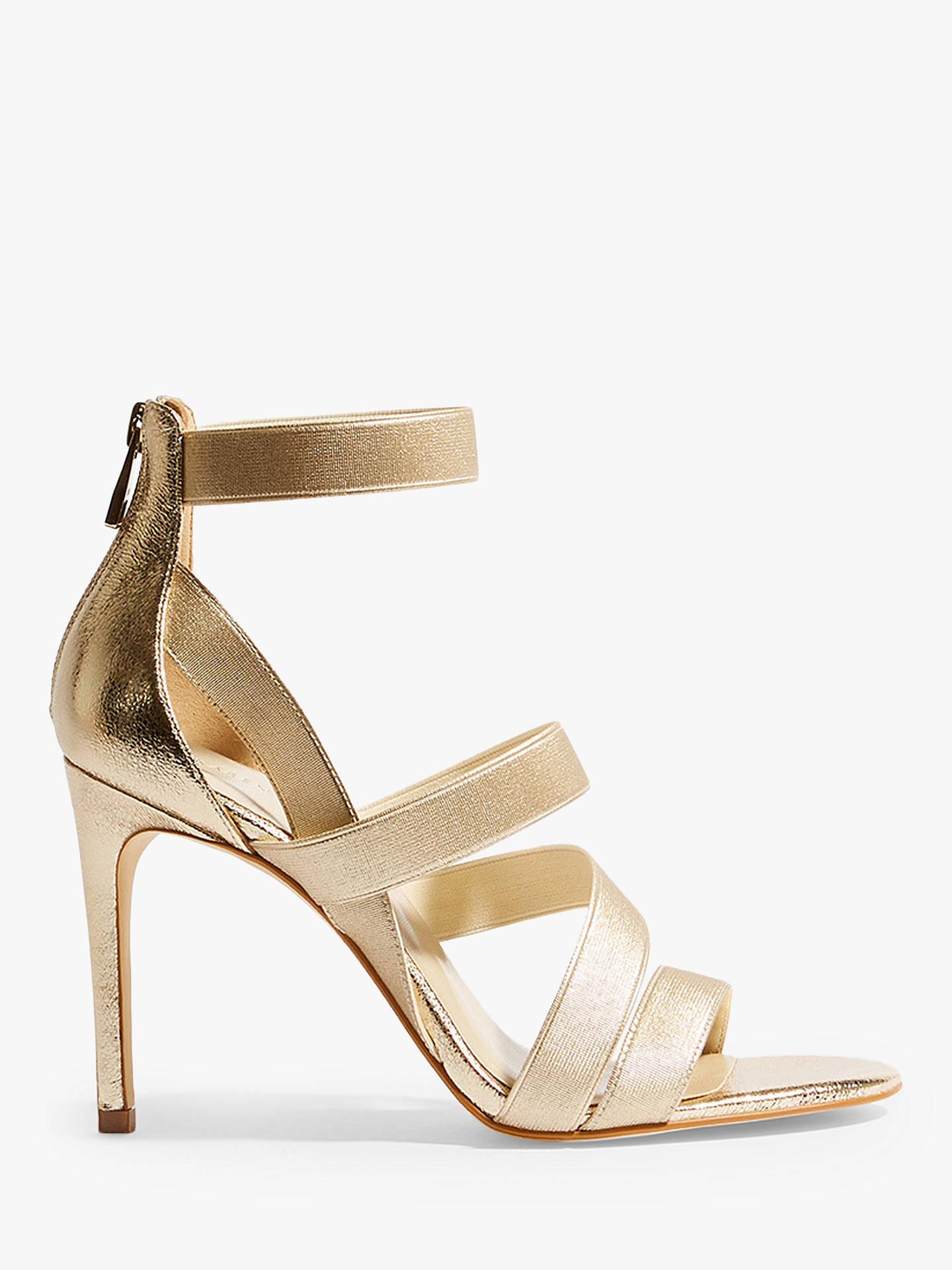 fc6e8c1e33 Buy Karen Millen Glitter Metallic Strap Sandals, Gold, 7 Online at  johnlewis.com ...