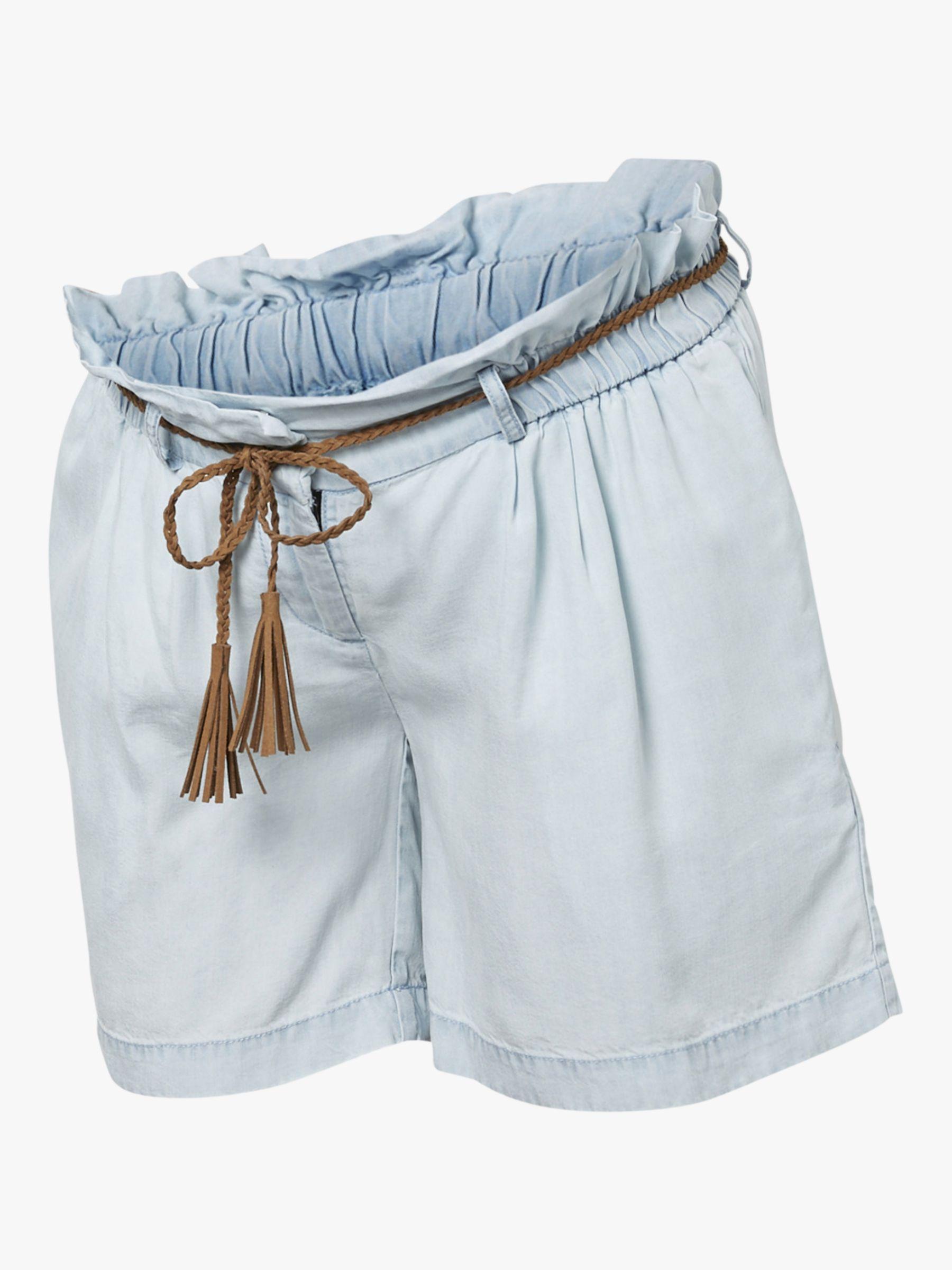 486971eca536 Mamalicious Mladora Tie Waist Maternity Shorts, Light Blue Denim