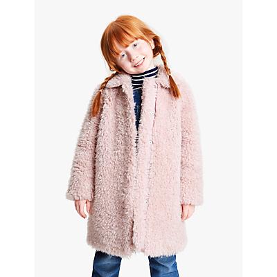 John Lewis & Partners Girls' Teddy Coat, Light Pink