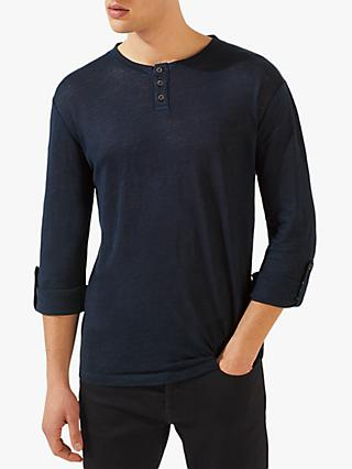 Jigsaw Linen Henley Top, French Navy