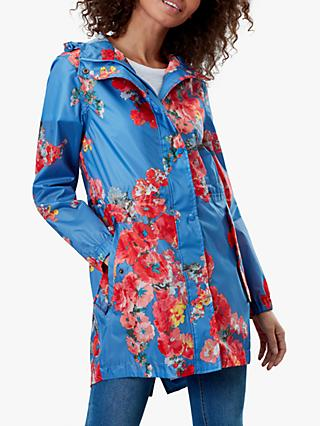 Joules Golightly Pack-Away Floral Waterproof Parka Coat, Blue