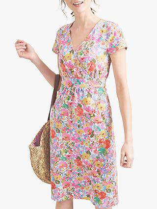 Joules Jude Jersey Wrap Dress, Blue Floral