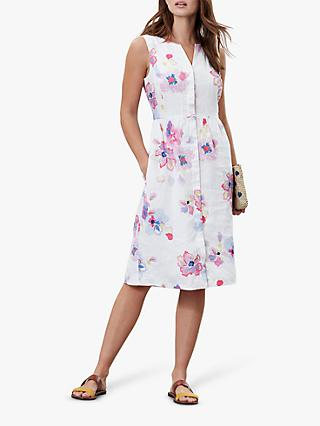 Joules Lisia Linen Floral Dress, White Floral
