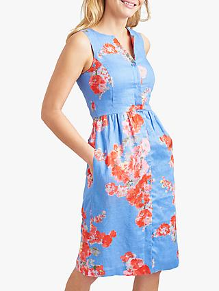 Joules Lisia Linen Floral Dress, Blue