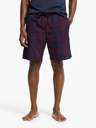 John Lewis & Partners Nate Cotton Twill Lounge Shorts, Navy/Burgundy