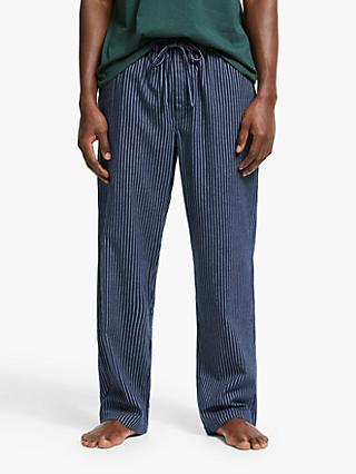 John Lewis & Partners Brushed Cotton Twill Stripe Pyjama Pants, Navy
