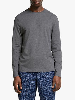 John Lewis & Partners Melange Cotton Long Sleeve Lounge T-Shirt