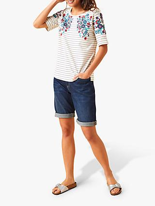 White Stuff Floral Stripe Mixed Cotton T-Shirt, Swan Natural