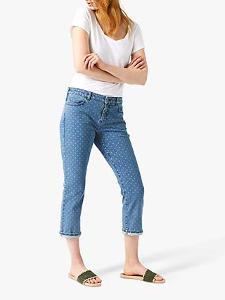 White Stuff Southern Seas Cropped Jeans, Mid Denim Spot