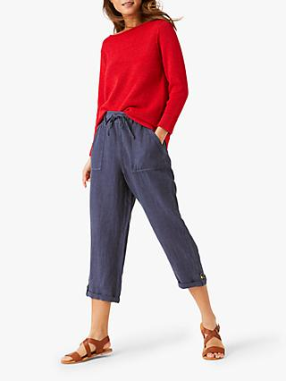 White Stuff Tianna Cropped Linen Trousers, Washed Blue