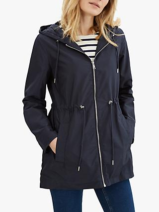 Jaeger Curved Hem Parka Coat, Navy
