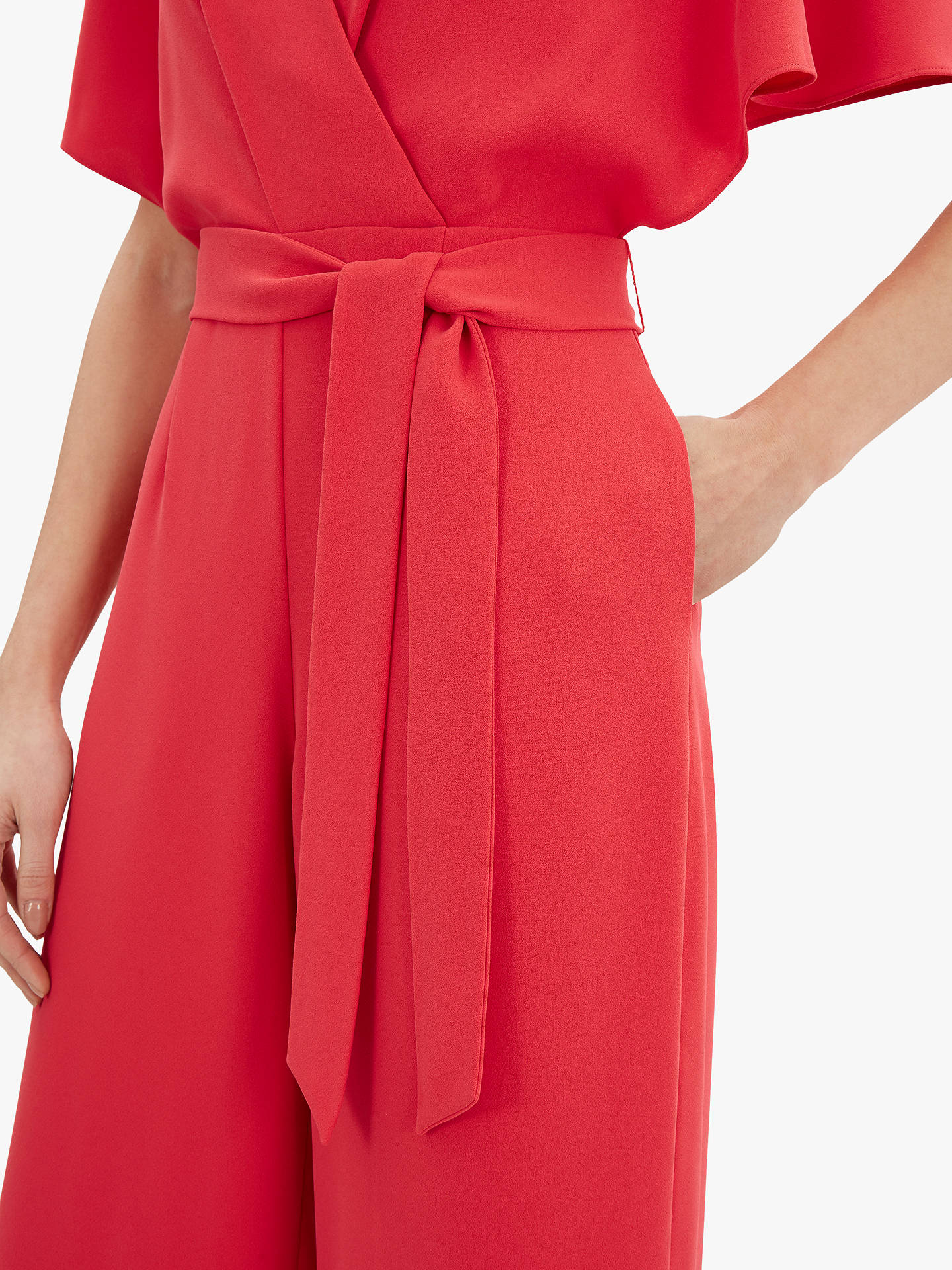 Buy Jaeger Angel Tie Waist Jumpsuit, Red, 16 Online at johnlewis.com
