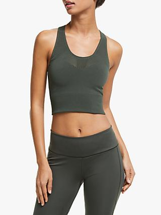 adidas Warp Knit Cropped Training Top, Legend Earth