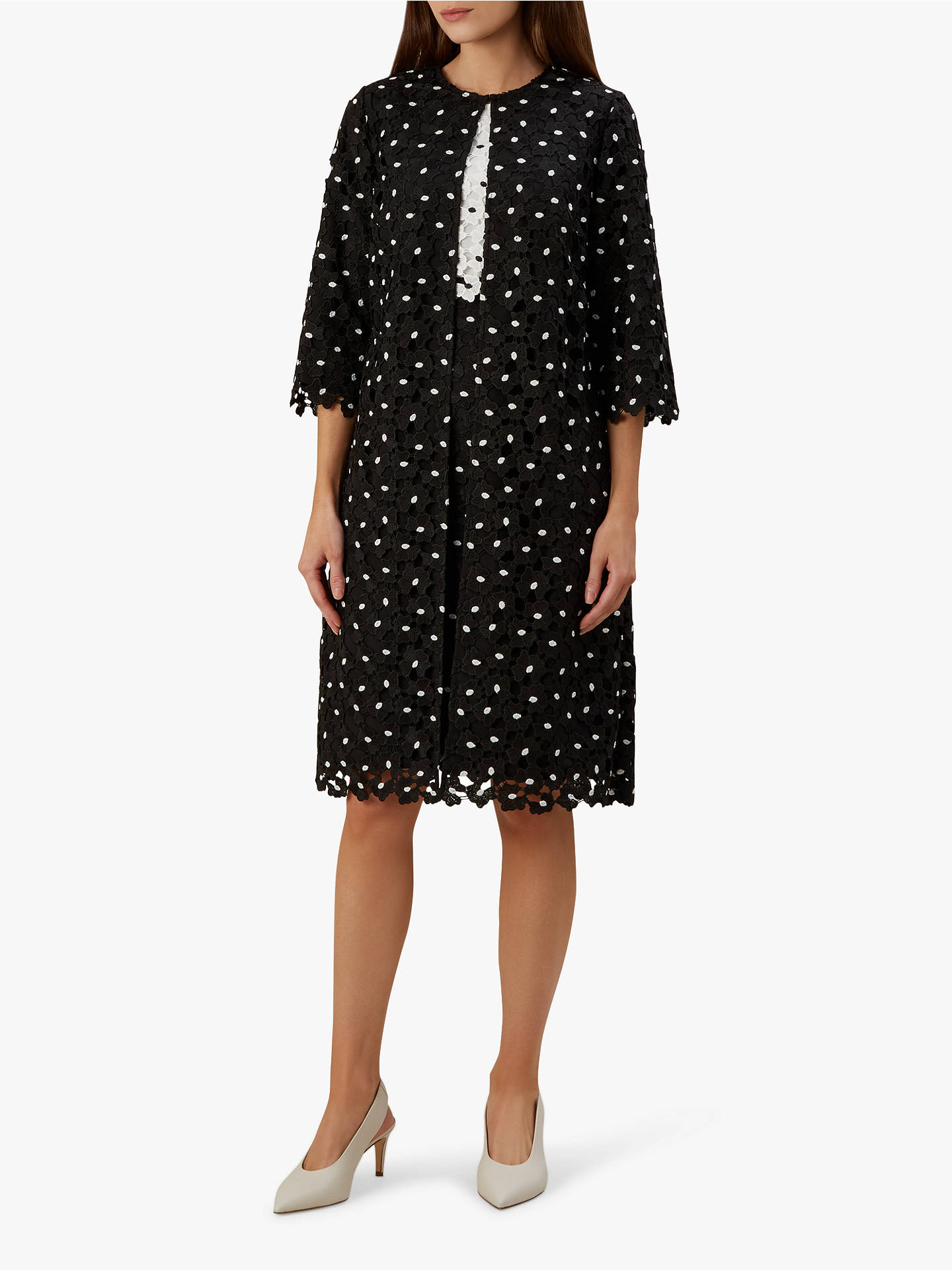 Buy Hobbs Lulu Lace Over Coat, Black, 10 Online at johnlewis.com