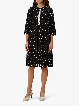 Hobbs Lulu Lace Over Coat, Black