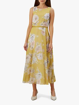 5a1f4336b1 Hobbs Carly Floral Print Ribbon Midi Dress