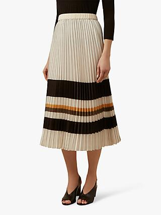 Hobbs Zoe Pleated Stripe Midi Skirt, Ivory/Multi