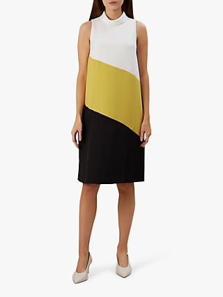 Hobbs Cecile Colour Block  Dress, Ivry Chartreuse