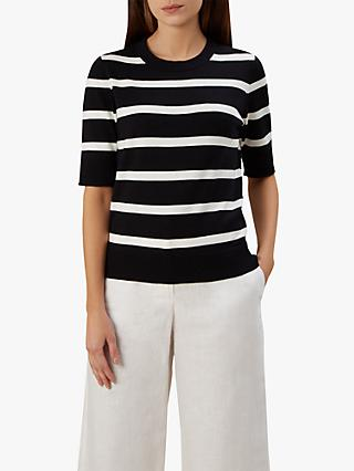 Hobbs Paula Stripe Knitted Sweater, Black/Ivory