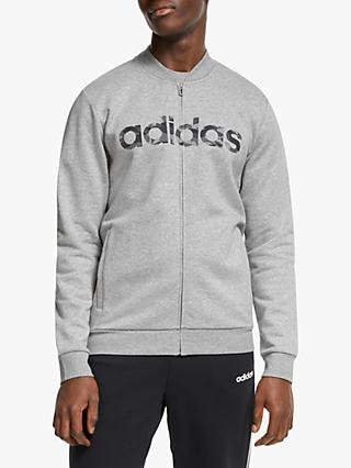 adidas Essentials Commercial Pack Bomber Jacket, Medium Grey Heather/Black