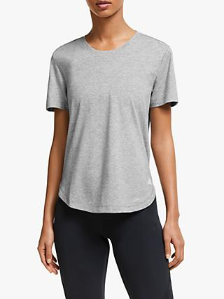 adidas Adaptable Length Short Sleeve Top, Medium Grey Heather