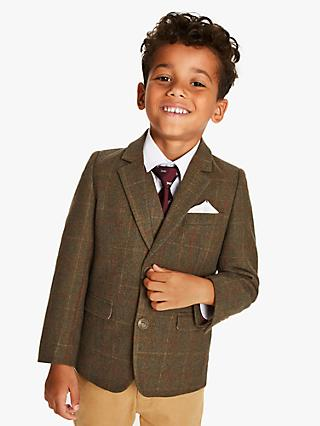 John Lewis & Partners Heirloom Collection Boys' Tweed Check Blazer, Green