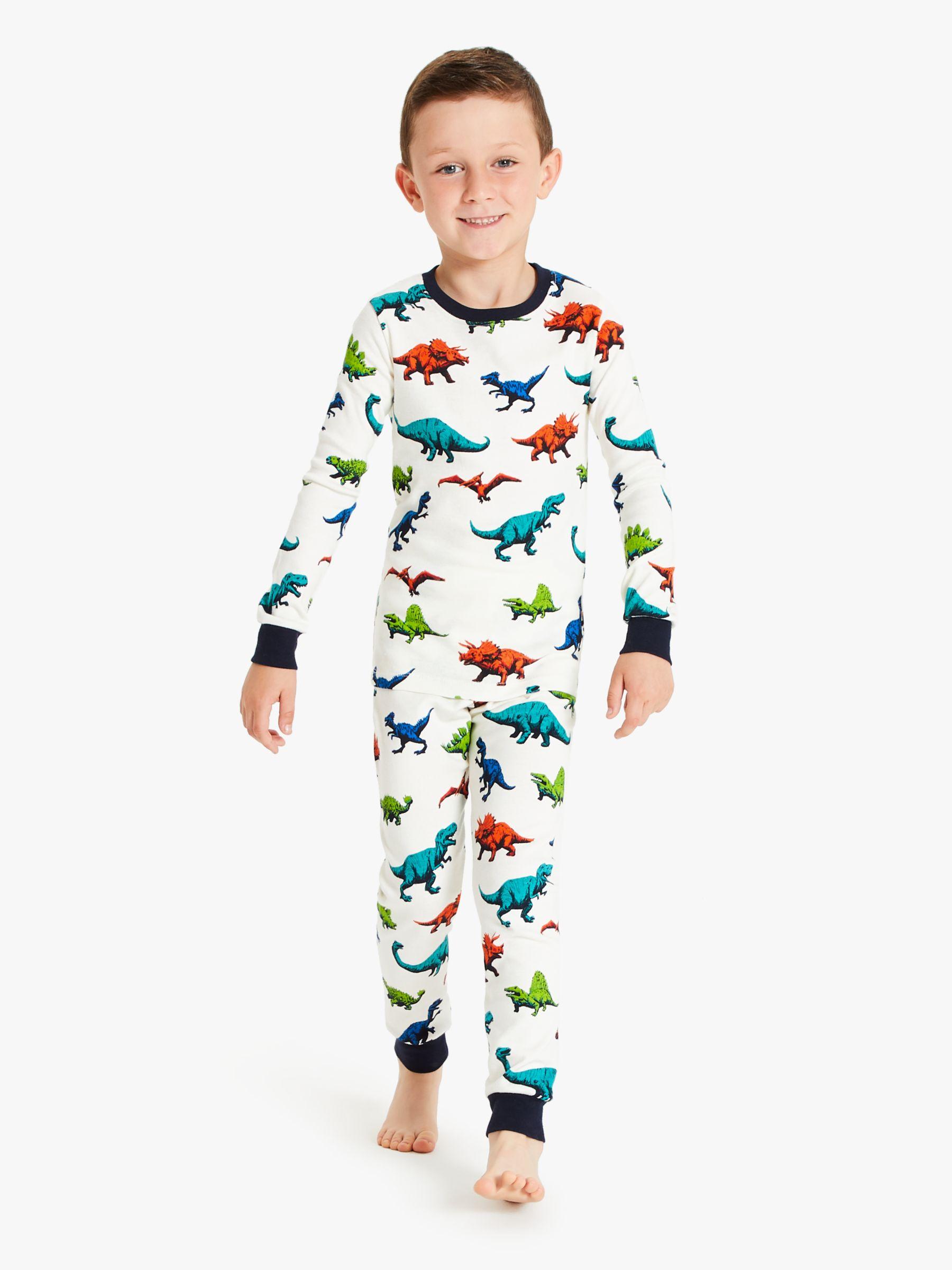 Hatley Hatley Boys' Dinosaur Herd Pyjamas, White/Multi