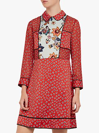 Ted Baker Colour By Numbers Valoria Floral Dress, Red Mid