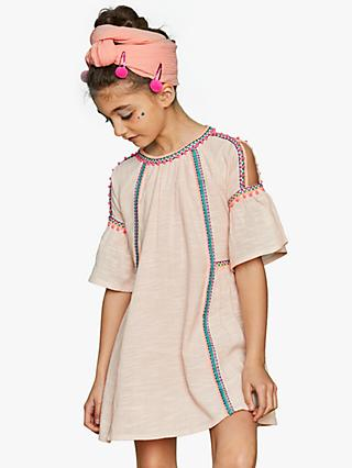 Outside the Lines Embroidered and Beaded Dress, Pink