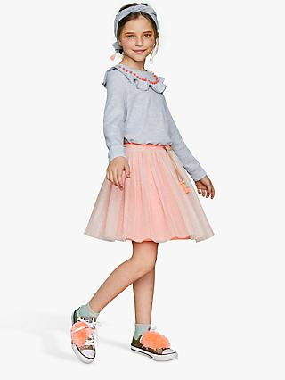 Outside the Lines Girls' Mesh Tassel Skirt, Fluorescent Pink