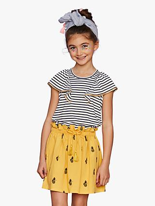Outside the Lines Girls' Stripe Broderie Frill T-Shirt, Blue
