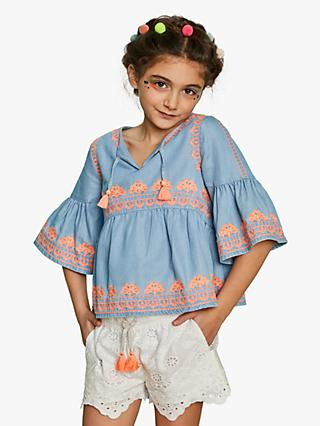 Outside the Lines Girls' Chambray Smock Top, Blue