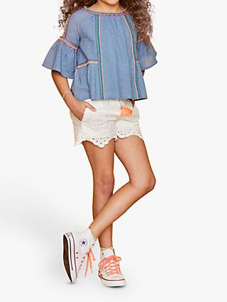 Outside the Lines Girls' Cold Shoulder Top, Blue