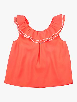 Outside the Lines Girls' Fluorescent Cross Over Blouse, Coral