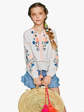 Outside the Lines Girls' Embroidered Blouse, White